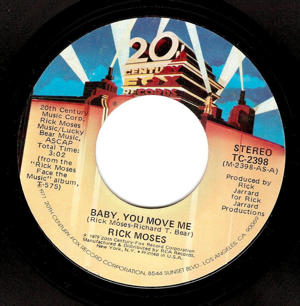RICK MOSES Baby, You Move Me Vinyl Record 7 Inch US 20th Century Fox 1977